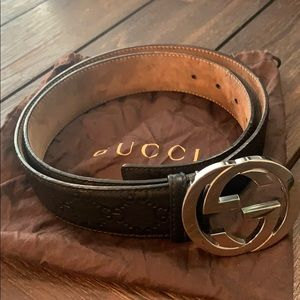 Gucci Signature Belt - men's - black leather